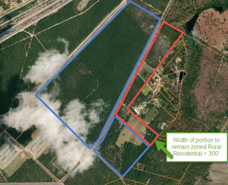 CSX Transportation offered a compromise to only develop the property on the north side of Marks Creek Church road if a zoning request were to be approved. The property on the south side will remain rural residential/agricultural.