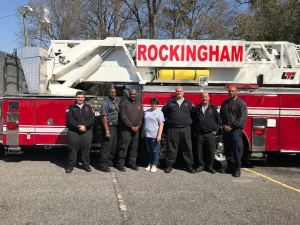 Rockingham Fire Department:  From left: FF Edward Causey, Lt. Wayne Covington, Asst. Chief Vernon McKinnon, Admin. Asst. Kristy Player Eng. Edward Hairfield, FF. Troy Sorrell, Chief Harold Isler