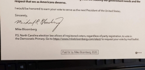 A letter sent to voters by the Michael Bloomberg campaign incorrectly cites state elections law regarding primaries.