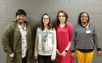 Pictured are four of the nine students who passed the national certification exam to become Certified Medical Administrative Assistants. They are, from left, Ernestine Briggs, Bobbi Jo Gurry, Amanda Tyler and Ayanna McMillan.