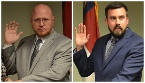 Jeff Smart, left, and Justin Dawkins were elected Monday to serve, respectively, as the chairman and vice chairman of the Richmond County Board of Commissioners.