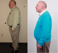 Tim Moore's before (green collared shirt with khaki pants) and after (teal sweater) shows the results of FirstHealth's Weigh2Be program, a significant 64.5-pound loss.