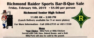 The RSHS athletics department will host a Bar-B-Que lunch fundraiser Friday, Feb. 8, to support all programs.