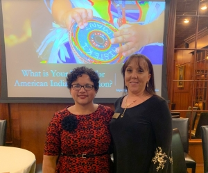 Dr. Susan Faircloth, left, served as the guest lecture sponsored by the First Americans' Educational Leadership program. She is shown here with Dr. Camille Goins, FAEL project director.