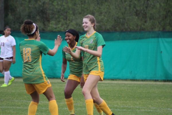 Freshman Ellie Buck (19) celebrates with teammates following her first career varsity goal.