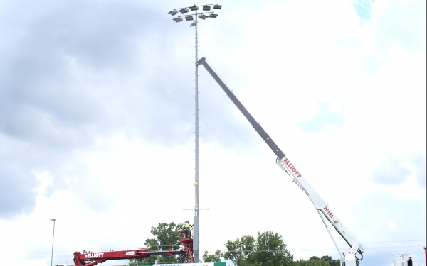The new Musco Lighting LED stadium lights being installed at Raider Stadium on Wednesday.