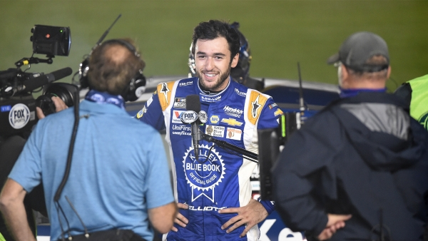 Chase Elliott, driver of the #9 Kelley Blue Book Chevrolet, speaks to the media after winning the NASCAR Cup Series Alsco Uniforms 500 at Charlotte Motor Speedway on May 28, 2020 in Concord, North Carolina.