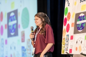 Naomi Blackwell, a student at St. Pauls High, speaks at the inaugural North Carolina Entrepreneurial Ecosystem Summit in November. Blackwell completed the Young Entrepreneur Program hosted by UNC Pembroke's Thomas Entrepreneurship Hub.