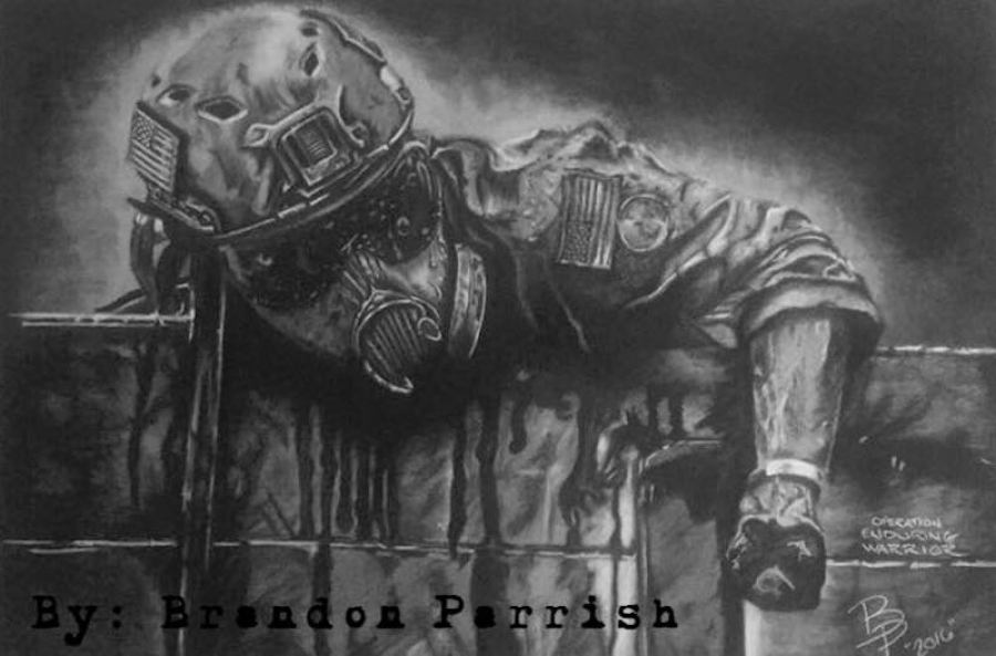 Brand Parrish' charcoal sketch of a fellow Marine.