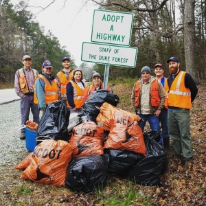 The 2020 Spring Litter Sweep is April 11-25. Volunteers from Duke Forest removed 20 bags of trash.