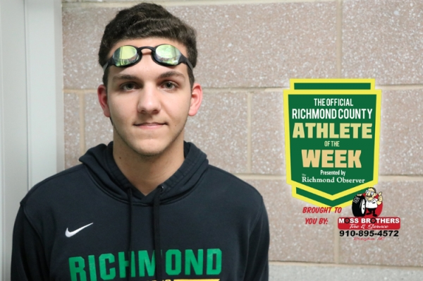 Senior swimmer Dakota Locklear has been named the Official Richmond County Male Athlete of the Week.