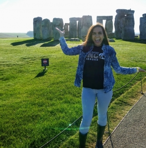 UNCP senior Kimberly Fuqua poses in front of Stonehenge while studying abroad in Canterbury.