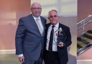 Dean Nichols, right, stands with Richmond Community College President Dale McInnis after being honored with the Foundation's Citizen of the Year award.