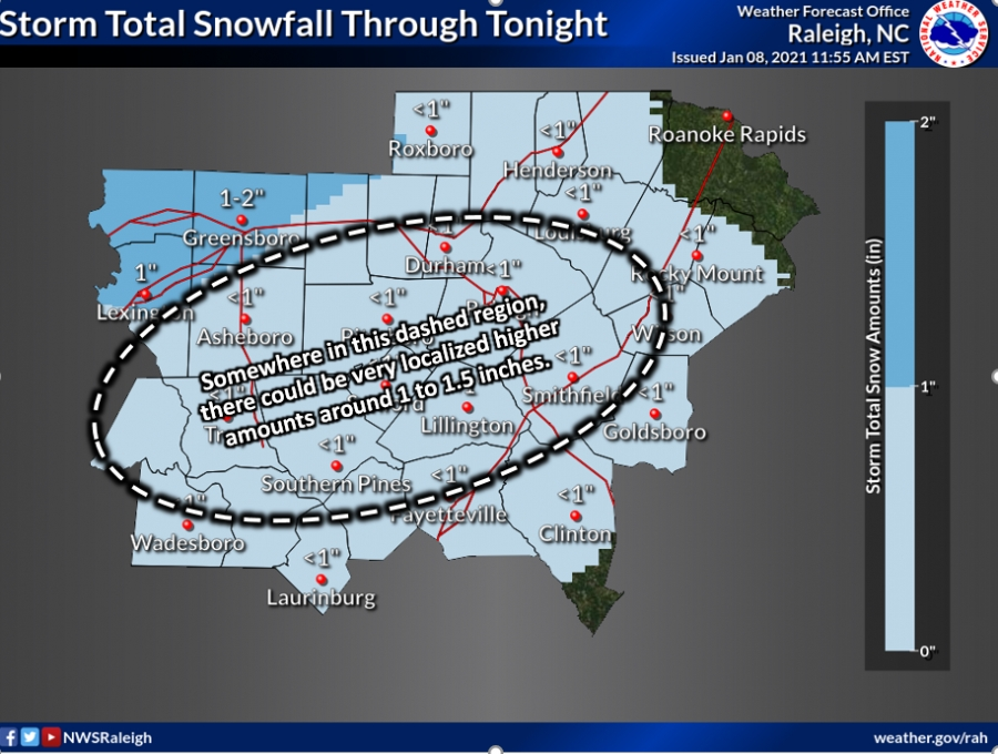 Richmond County could see more than an inch of snow