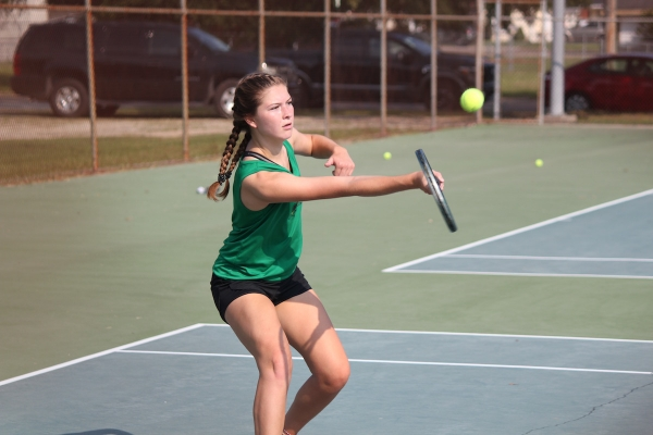 Sophomore Ellie Buck helped earn a win in the No. 2 doubles match on Thursday.