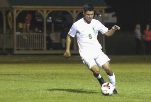 Richmond Observer File Photo: Junior forward Carlos Alcocer netted both of Richmond's goals in Tuesday's opening-round match in the 2017 SAC tournament.