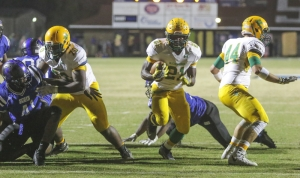 Senior running back Dante Miller rushed for 124 yards on 17 carries in Friday's 69-47 loss to rival Scotland County.