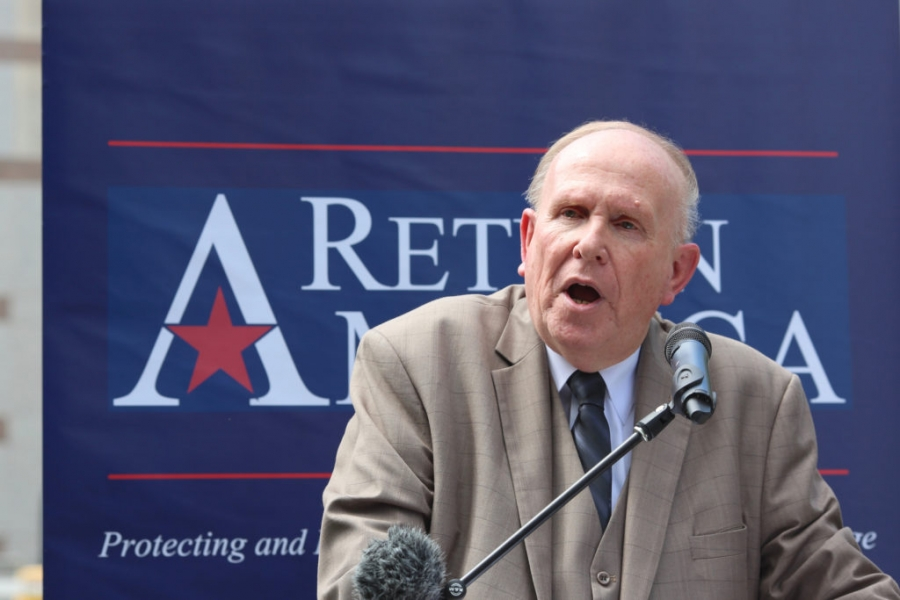 The Rev. Dr. Ron Baity, president of Return America, speaks outside the Legislative Building, May 14, 2020.