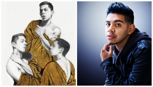 "UNCP senior art major Lemuel Subdias took home first place at the annual Peach Belt Conference Art Exhibition with his work ""Unholy Trinity."""