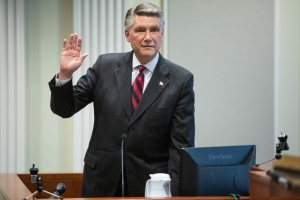 Mark Harris, Republican candidate in North Carolina's 9th Congressional race, prepares to testify during the fourth day of a public evidentiary hearing on the 9th Congressional District voting irregularities investigation Thursday, Feb. 21, 2019, at the North Carolina State Bar in Raleigh.