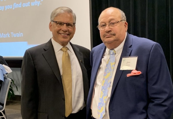 Chancellor Robin Gary Cummings, left, with former UNCP Trustee and colleague Dr. Jim Jones at the 14th annual Jim Bernstein Health Leadership Dinner in Chapel Hill on Oct. 3.