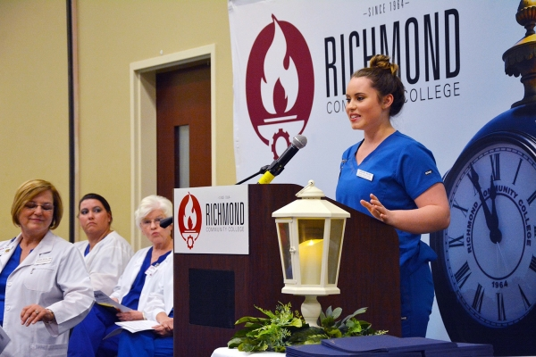 Nursing Assistant student Caroline Walker was a guest speaker at the Pinning Ceremony held for students completing the program at Richmond Community College. Walker is a Richmond Senior High School student dually enrolled at RichmondCC.