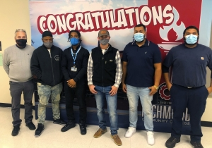 Richmond Community College Industrial Mechanic instructor Gibby Peele, far left, stands with program graduates Charles Crawford, Samuel L. Houston, Hunter Taylor, Purnell Williams and Aaron Adams prior to their certificate presentations on Dec. 18. Not pictured are program completers Jimmy McCormick and Justin Swails.