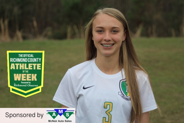 Senior striker Hanna Millen has been chosen as this week's Official Richmond County Female Athlete of the Week.