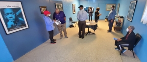 A small crowd visits the Coltrane Blueroom in Hamlet, which opened on Wednesday as a museum to honor the jazz legend.