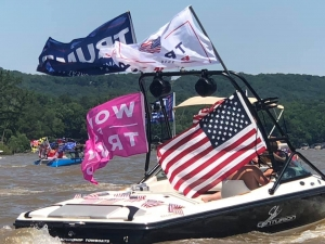 Hundreds of boats filled Lake Tillery on Saturday to honor President Donald Trump's 74th birthday. See more photos at the bottom of the page.