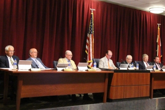 Commissioners hear the County Manager's Report from Bryan Land Tuesday evening