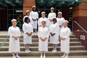 Pictured are members of Richmond Community College's Practical Nursing Class of 2017, front row, from left to right Chelsi Hernandez, Jessica Wilkes and Jessica Kirwin; second row, from left to right, Kanestra Wall, and Whitney Brown; third row, from left to right, Becky McDonald, Mikala Greene, and Gina Jordan; in back, from left to right, Sabrina Copeland and Tara Gurano.