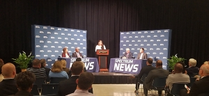 Panelists at the final 2019 N.C. IOPL Hometown Debate Thursday, Oct. 17, in Henderson were, from left, Rep. Donna White, R-Johnston; Rep. Terry Garrison, D-Vance; moderator Loretta Boniti of Spectrum News; Greg Griggs of the Academy of Family Physicians; and Jordan Roberts, health care policy analyst at the John Locke Foundation.
