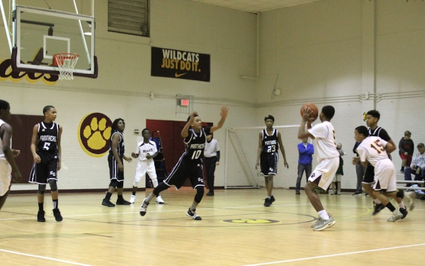 Ellerbe's Emoni McBride (5) pulls up for a shot during the Wildcats' first win of the season Thursday.
