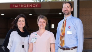 Pictured with Samantha Talley (center) is (from left) Jan Scholl, R.N., chief nursing officer at Montgomery Memorial Hospital and Daniel Goodberry, M.D., Sandhills Emergency Physicians.