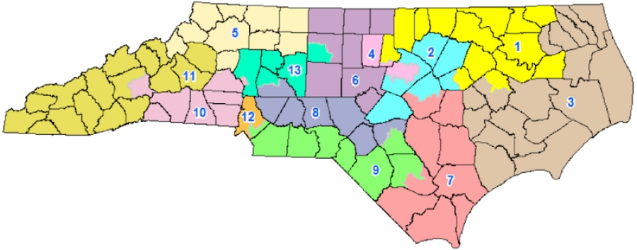 Map of recently rejected Congressional District Map of North Carolina.