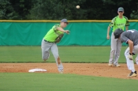 Senior Dallas Cowick turns a double play in the second inning of Thursday's loss to Pinecrest.