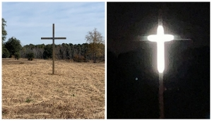 "Ed O'Neal says the lighted cross on his Hamlet property is a sign of ""hope and love."""