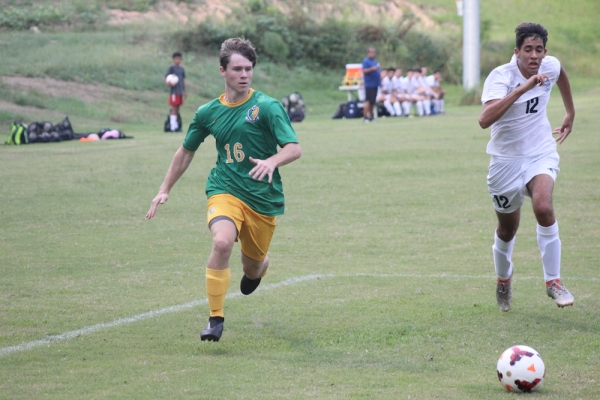 Junior Noah Jordan (16) was one of three goal scorers in Richmond's 3-1 win over Purnell Swett on Wednesday.