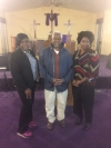 Colmeter Thomas, Ozie Felder, and Pastor Anita Collins of First Harvest Faith Christian Center