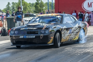 New Bern's Kevin Helmick was a double winner at Rockingham Dragwayin his Gumpcat Hellcat