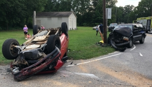 Two SUVs collided at the intersection of Mill Road and Church Street Monday afternoon after one of them ran a stop sign, according to the Highway Patrol. No one was injured.