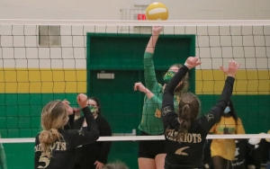 Freshman Emma Altman attempts a kill during the second set of Richmond's win over Pinecrest on Tuesday.