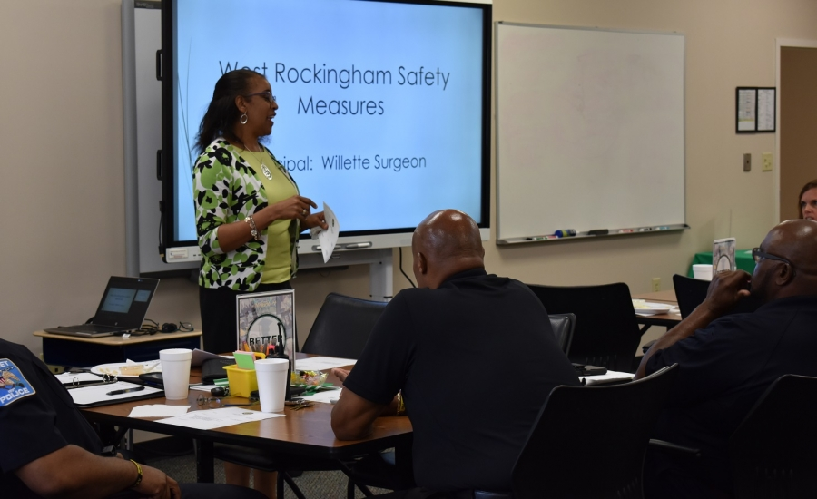 Willette Surgeon, principal at West Rockingham Elementary School, informed attendees on the safety measures they provide at their elementary school.