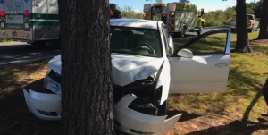 Photo of a one-vehicle accident in East Rockingham Thursday that resulted in one person going to a local hospital.