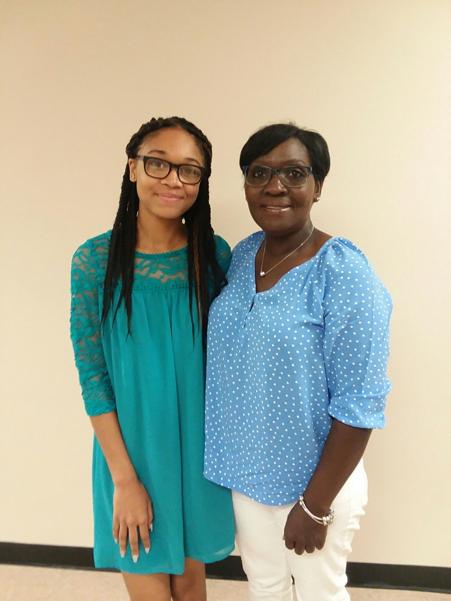 Rockingham Middle School Education Excellence Award Winner Camryn Hines Poses With Her Grandmother