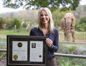 "North Carolina Zoo's Volunteer Coordinator Victoria ""Toy"" Lambeth awarded the Governor's Award for Excellence."