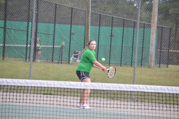 Senior Emily Parsons was one of several Lady Raiders to win her singles match Wednesday against Scotland.