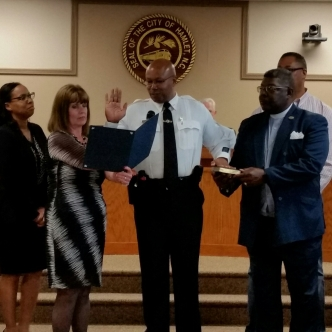 Police Chief Tommy L. McMasters is ceremonially sworn in at Tuesday's Hamlet City Council meeting. He was officially sworn in April 2.