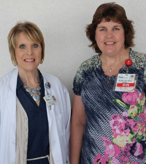 Tammy Welch (at left) and Robin Clark, R.N., are lactation consultants at FirstHealth Moore Regional Hospital, which – unlike many hospitals – has a donor breast milk program for all newborns, not just for the premature infants in the hospital's neonatal intensive care unit.